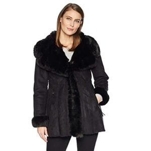 NWOT Via Spiga Women's Faux Shearling Wrap Jacket